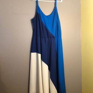Color block blue and white dress